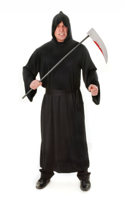 Adults Horror Robe Black Costume Hammer Halloween Fancy Dress Outfit